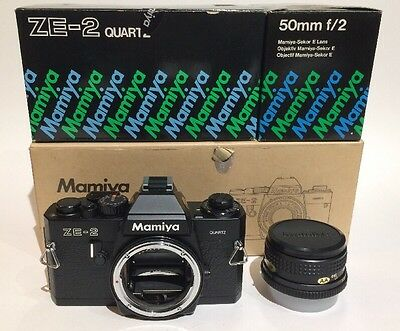 Mamiya ZE-2 35mm SLR Film Camera w/ Mamiya Sekor E 50mm f/2 Lens In Original Box
