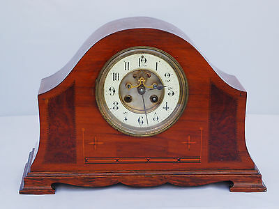 Antique AD MOUGIN FRENCH OPEN ESCAPEMENT INLAID MAHOGANY MANTLE CLOCK c1890