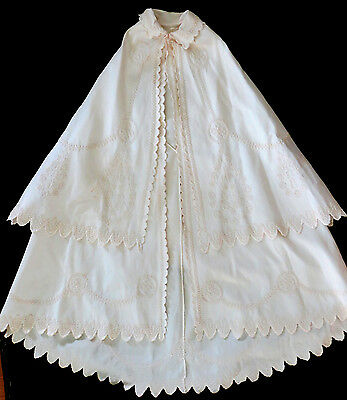 1860 Antq Christening BAPTISM CAPE Vicorian EMBOIDERED Soutache Trim TIERED LONG
