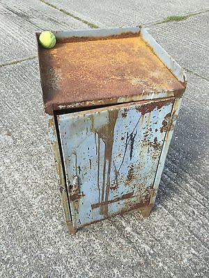 Rough luxe vintage, retro paint safe grey steel metal storage, shop fitting