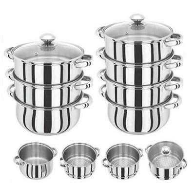 3 Tier Stainless Steel Multi Steamer Veg Cooker Pot Pan Set With Glass Lid Chn