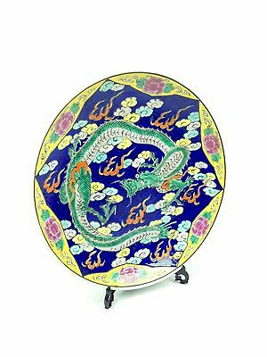 Antique Japanese Charger Plate Colourful Dragon Design