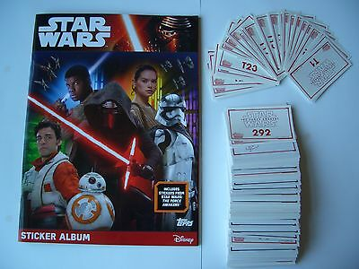 Star Wars The Force Awakens Topps Complete Set Of Stickers & Sticker Album Mint.