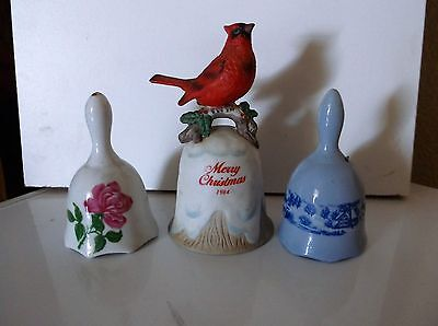 Ceramic Porcelain Bells Red Bird Rose Farm Scene Enesco Various Sizes Lot of 3
