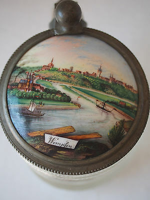 Antique 1800's German~Wimpfen Scenic City River~Hand Painted Blown Crystal Stein