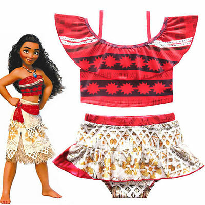 Cute Girls Toddlers Moana Swimsuit Swimwear 2pc Set Bathing suit Bikini 2T-10