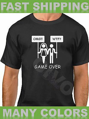 Game Over T Shirt Funny Marriage Tee Wedding Bachelor Party Groom Bridal Shower