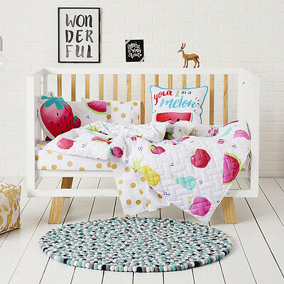Adairs Kids Fruit Crush Quilted Cot Quilt Cover Set BNIB - RRP $129.95