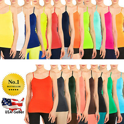 NEW Womens Adjustable Spaghetti Strap CAMI Layering Solid Basic Tank Top OS PLUS