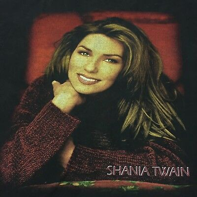 Vintage Shania Twain T-Shirt Rock Band Tour Concert Country Bar Singer Guitar