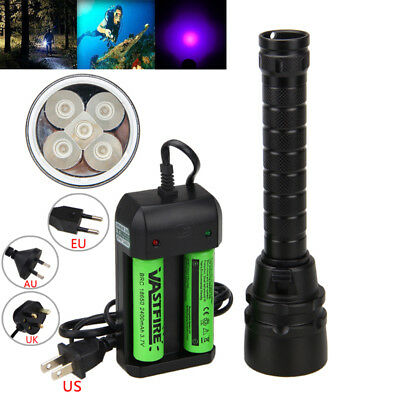 395nm Diving 5x UV LED Dive Scuba Flashlight Torch 18650 Charger Underwater 100m