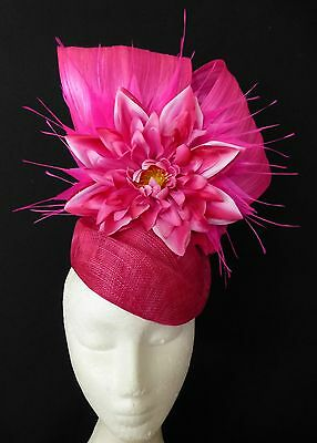 Fuschia Hot Pink Flower Feathers Hat Fascinator Feathers Races Wedding