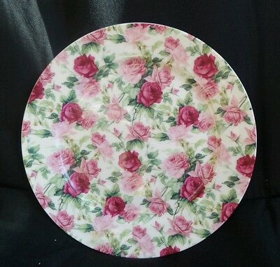 Vintage Style Pink and Red Roses Chintz Side plate