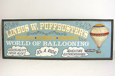 Antique Style World of Ballooning Hot Air Balloon Decor Wall Hanging Sign 36x13
