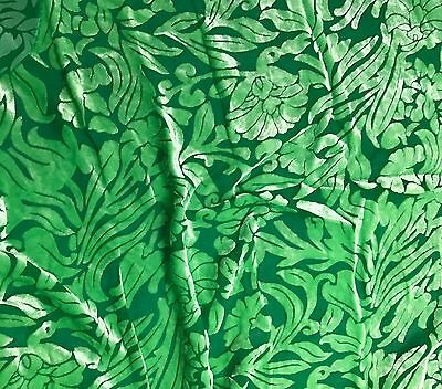 """Hand Dyed Burnout Silk VELVET Fabric Bright Kelly Green POLKA DOTS 9x22/"""" remnant"""