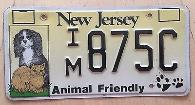 New Jersey Animal Friendly License Plate  Im 875C  Nj Dog Dogs Cat Cats Pets Dvm