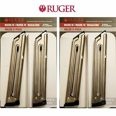 FOUR RUGER MK IV MK III .22LR 10 Round MAGAZINES Nickel 90231 FAST SHIP