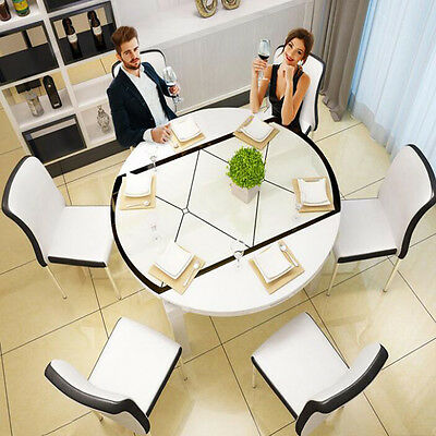 White Extension Solid Wood Tempered Glass Dining Table 6 Metal PU Leather Chair