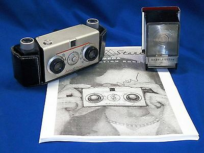 Vintage 1955 Delta Stereo 35mm Film Camera w/ Flash & Manual TESTED & WORKING!