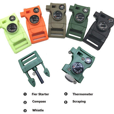 Outdoor Survival Kits Flint Scraper Compass Thermometer Whistle Buckle EDC