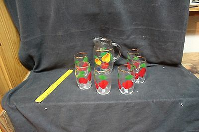 Vintage Floral/Fruit Glass Hand Painted Pitcher and 6 Glasses