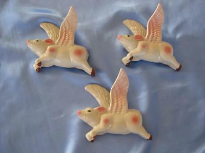 Set Of 3 Ceramic Flying Wall Pigs