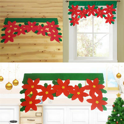 Cute Christmas Red Hat Design Window Curtain Valance Hanging Wall Bunting Banner