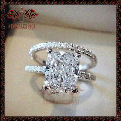 2CT Princess-Cut Diamond Solitaire Bridal Engagement Ring 10k White Gold Finish