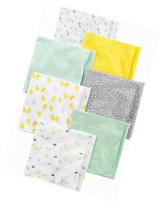 Simple Joys by Carter's Baby 7-Pack Flannel Receiving Blankets, Grey/White/Mint,