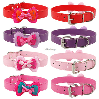 Cute Bowknot PU Leather Pet Puppy Dog Collars for Chihuahua Poodle 4 Colors XS-L