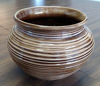 """Vintage Brown Hand Made Pottery Garden Planter Pot Plant Ribbed 1979 4.5"""" Across"""