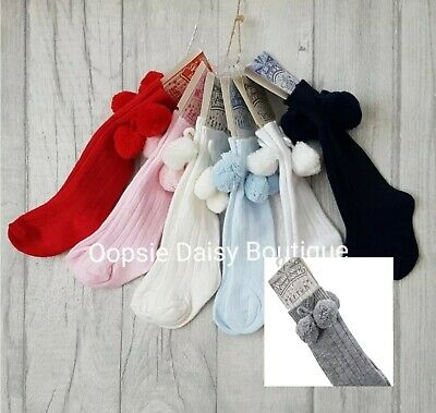 Boys Girls Knee High Pom Pom Socks & Grey ☆ Romany Spanish Style ☆ 0-24mths
