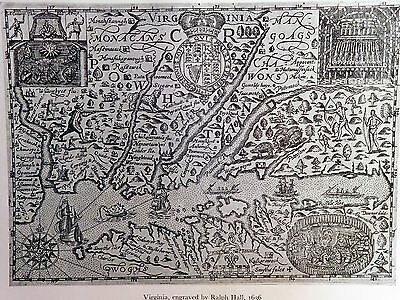 1636 Antique Map Of Virginia - Engraved By Ralph Hall - Reproduction