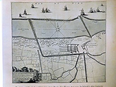 1713 Antique Map Of Dunkirk And Mardyck - Pieter Schenk - Reproduction - France