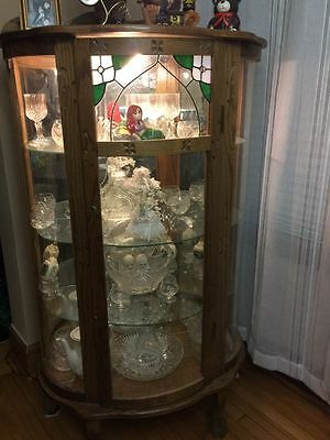 Vintage Stained Glass Curio Cabinet