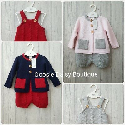 Baby Boys Girls Spanish Stunning Knitted Dungarees Romper & Cardigan Sets ☆