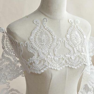Lace Sequined Trim Wedding Dress Embroidered Bridal Veil Sewing Applique Crafts