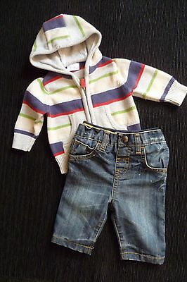 Baby clothes BOY 0-3m outfit distressed,faded jeans/hooded,zip,cardigan SEE SHOP
