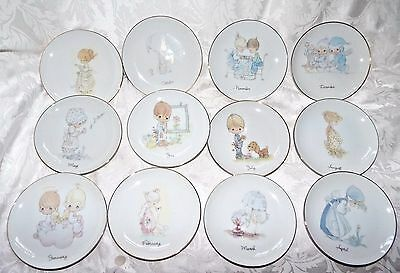 PRECIOUS MOMENTS PLATES, Complete Collection 12 Months Enesco 1983 Jan to Dec