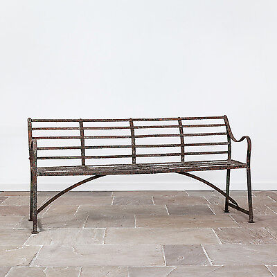 Early 19th Century Regency Wrought Iron Garden Bench. Antique Strapwork