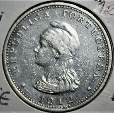 Portuguese India 1 Rupia 1912/1 Very Fine+ Silver Coin - Liberty Head - Portugal