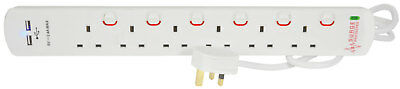 MERCURY 6 Gang Surge Protected Extension Lead with USB 2m NEW
