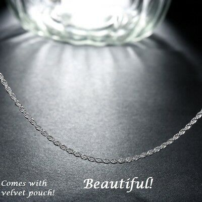 2mm Womens 925 Sterling Silver Rope Twist Chain Necklace 16, 18, 20, 22, 24 in