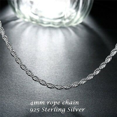4mm Mens Womens 925 Sterling Silver Rope Twist Chain Necklace 16 18 20 22 24 in