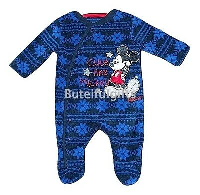 Baby Boys Disney Mickey Mouse Fleece Sleepsuit/All in One 0-3 Months