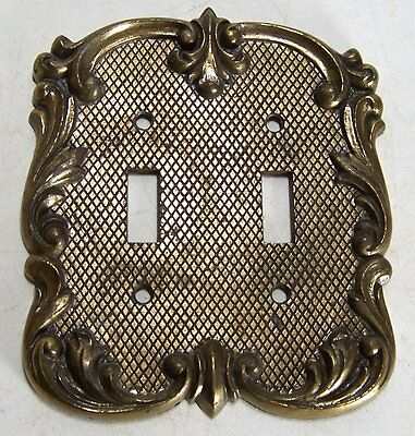 Vintage National Lock Ornate Solid Brass Double Light Switch Cover