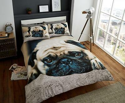 Sweet Pug Printed Polycotton Duvet Cover Set, Reversible Bedding Sets