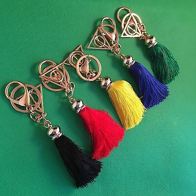 Harry Potter Deathly Hallows Metal Keyring Keychain Tassel Gryffindor *NEW*