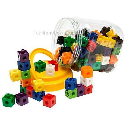 Jar of 100 Linking Cubes Math Counters Sorting Home School Educational Maths