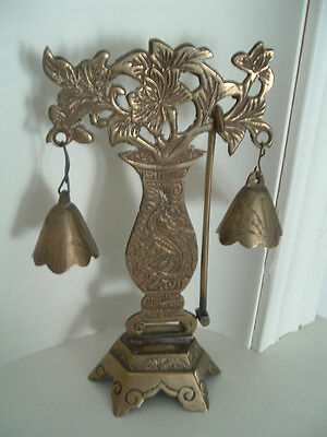 Vintage Brass Ornate Dinner Bell / Gong- Pedestal stand vase shaped with flowers